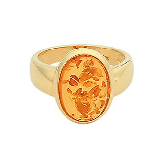 Christian Design gold ring with amber