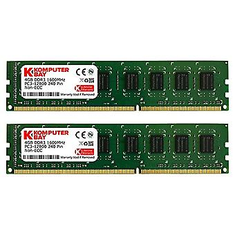 Komputerbay DIMM Memory Module (16 GB, 4 x 4 GB, 240 pins, 1600 MHz, PC3 12800, DDR3, with Heatspreader), Green Black 8 GB (2 x 4 GB) CL10 negro