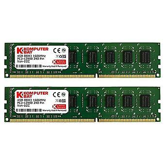 كومبوترباي DIMM وحدة الذاكرة (16 غيغابايت، 4 × 4 غيغابايت، 240 دبابيس، 1600 ميغاهرتز، PC3 12800، DDR3، مع Heatspreader)، الأخضر الأسود 8 غيغابايت (2 × 4 غيغابايت) CL10 الزنجي