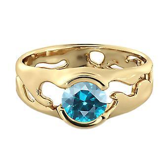 1.00 CT الأزرق توباز خاتم 14 ك مصمم سوليتير فريدة من نوعها الذهب الأصفر