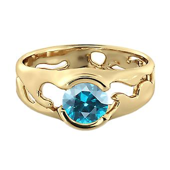 1.00 CT Blue Topaz Ring 14K Yellow Gold Unique Solitaire Designer