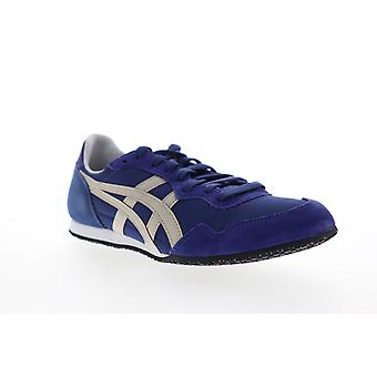 Onitsuka Tiger Serrano Mens Blue Suede Lace Up Low Top Sneakers Shoes