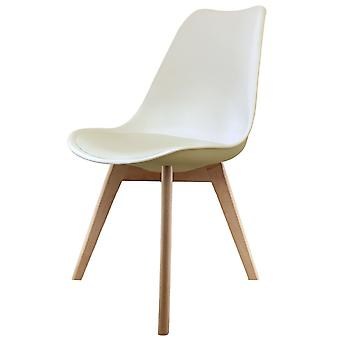 Fusion Living Eiffel Inspired Vanilla Plastic Dining Chair With Squared Light Wood Legs