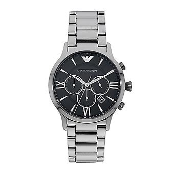 Armani Watches Ar11208 Men's Chronograph Silver And Black Stainless Steel Watch