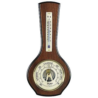 Woodford Veneered Barometer and Thermometer - Brown/Bronze