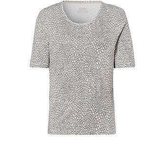 Olsen Grey Abstract Square Print T-Shirt