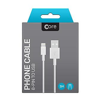 Core - 8 Pin To USB Cable - White - 3M