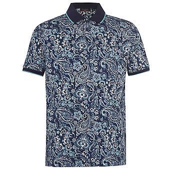 Pierre Cardin Mens Paisley Polo Shirt Folded Collar 3 Buttons Short Sleeve Top