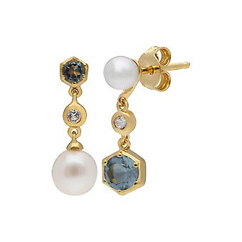 Modern Pearl, White & Blue Topaz Mismatched Drop Earrings in Gold Plated Sterling Silver  270E030110925