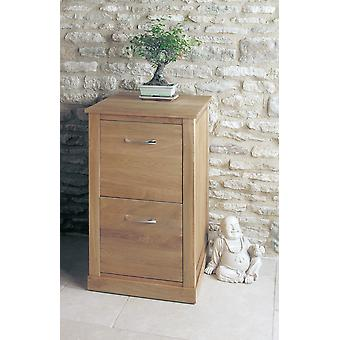 Mobel Oak Two Drawer Filing Cabinet Brown - Baumhaus