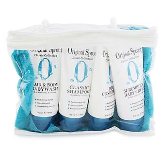 Classic Collection Deluxe Travel Kit: Shampoo 90ml + Conditioner 90ml + Baby Wash 90ml + Baby Cream 90ml + Washcloth 1pc
