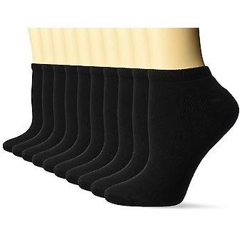 Essentials Women's 10-Pack Cotton Lightly Cushioned No-Show Socks, Bla...