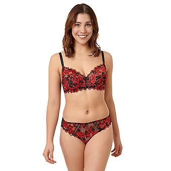 Sans Complexe Arum Diva 319672-HPW Kvinnor's Svart/Röd blommig spets Knicker Trosa Tanga