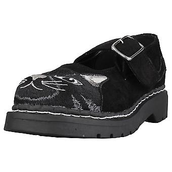 T.U.K Kitty Embroidery Mary Jane Womens Casual Shoes in Black