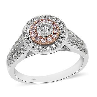TJC White Diamond Halo Ring 14ct 2 Couleur Or (I1I2/GH) Diamant rose naturel