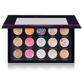 SHANY Hidden Gems 15-Color Face & Body Baked Makeup Palette - 9 Baked Highlighters, 3 Baked Blushes, and 3 Baked Bronzers - Baked Face Powder Kit