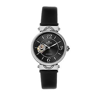 Empress Alouette Automatic Semi-Skeleton Leather-Band Watch - Black