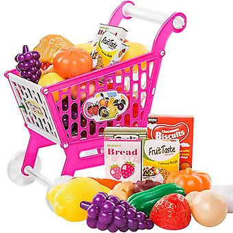 Children Role Play Supermarket Toy -shopping Cart Trolley With Fruits And