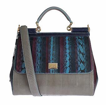 Dolce & Gabbana Multicolor Caiman Snakeskin Leather Sicily Hand Bag SIG15208