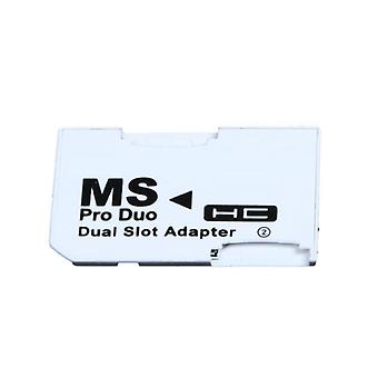 Micro Sd Tf Flash Card To Memory Stick Ms Pro Duo For Psp Card Dual 2 Slot Adapter (white)