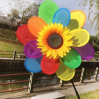 Sunflower Windmill Wind Spinner - Rainbow Whirligig Wheel Decoration For Child