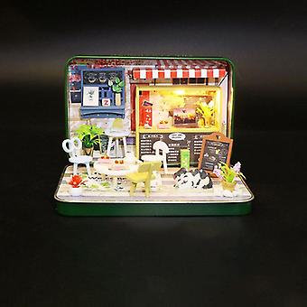 Dollhouse Miniature Kit With Wooden Furniture, Led Light