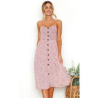 Angashion Women-apos;s Dresses-Summer Floral Bohemian Spaghetti, Pink, Taille X-Large