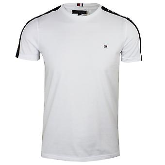 Tommy hilfiger men's white taped sleeve t-shirt