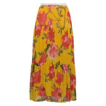 Nina Leonard Skirt Printed Power Mesh Tiered A-Line Yellow 691-496