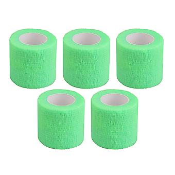 5Pieces Breathable Wrist Bandages Self-Adherent Tape Width 1.96Inch Green