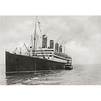 The Rms Aquitania Of The Cunard Line From The Year 1914 Illustrated PosterPrint