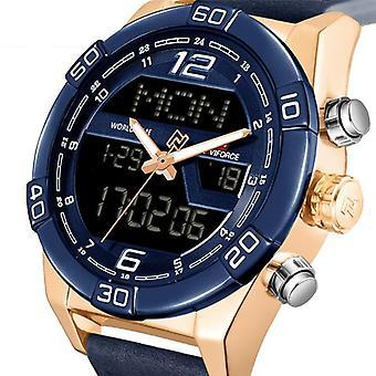 NAVIFORCE 9128 Dual Display Digital Watch Chronograph Men Alarm Sport Wrist