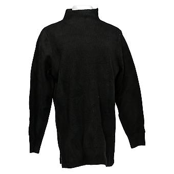 H por Halston Women's Sweater Funnel Neck Mixed Stitch Tunic Black A311494