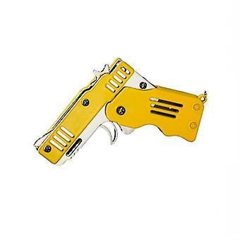 Mini Folding Six Bursts Rubber Band Gun With Key Chain Toy
