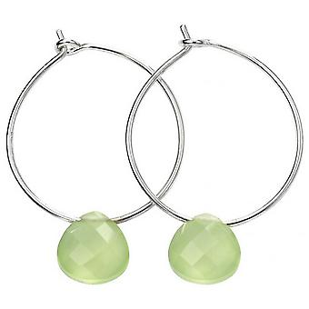 Beginnings Teardrop Chalcedony Hoop Earrings - Green/Silver