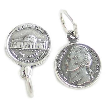 Jefferson Nickel Tiny Sterling Silver Charm .925 X 1 Nickels Mynt Charms - 4221