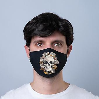 Crânios e rosas reutilizáveis cobertura facial - grande