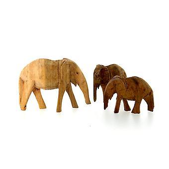 Wooden Elephant Figurine Family - 3 Piece Set