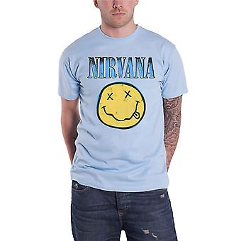 Nirvana T Shirt Copy Smiley Band Logo new Official Mens Blue