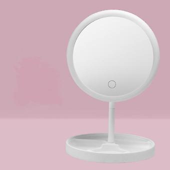 Usb charging three variable led light color hair desktop makeup mirror folded belt is lamp table
