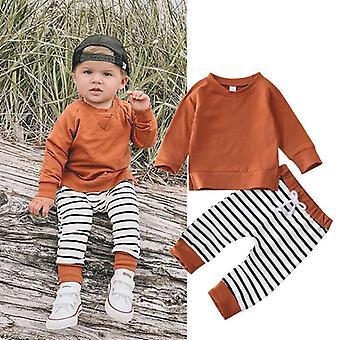 0-24m Newborn Infant Baby Clothing Set Casual Hooded Tops Striped Pants Outfits