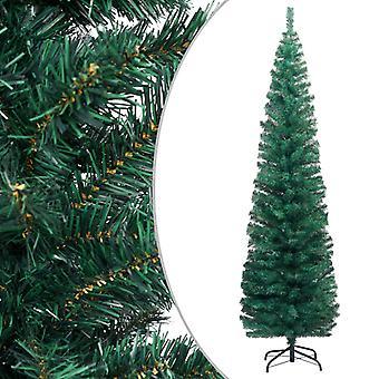 vidaXL سليم شجرة عيد الميلاد الاصطناعي مع الوقوف الأخضر 210cm PVC