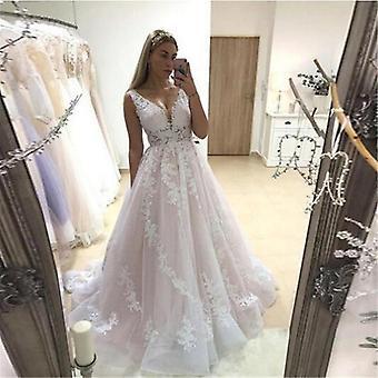 فستان الزفاف الخامس الرقبة، فساتين الزفاف، بلا ظهر، بلا أكمام، كامل appliques، الدانتيل