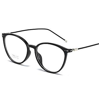 Bright Black Nearsighted Spectacle Steel Oval Eyeglasses
