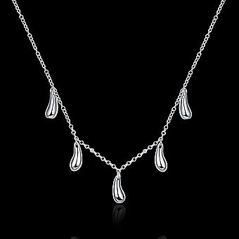 5 Piece Waterdrop Necklace In 18k White Gold Plated
