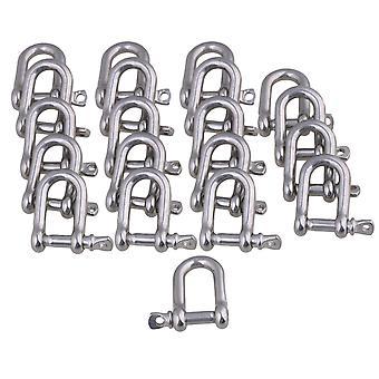20PCS European Style Metal Rust Resistantance M4 D shackle Rigging Silver
