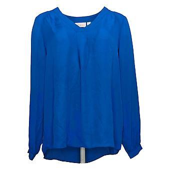 Belle By Kim Gravel Women's Top Long-Sleeve V-Neck Blouse Blue A382364