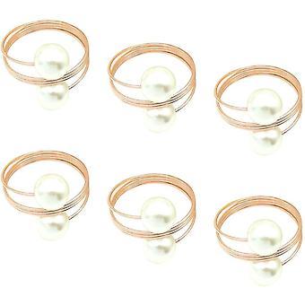 CYJZHEU Serviettenringe Perlen, 6 festsitzen Serviettenringe Rosegold Serviettenringe Metall fr Hochzeit