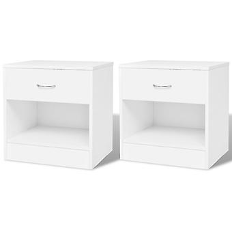 vidaXL table de chevet 2 pcs. avec tiroir blanc