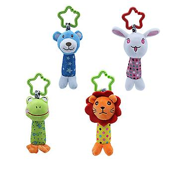 4pcs Bear Rabbit Frog Lion Rattle Toys With Bell Plush Baby Hanging Toys Colorful Rattling Doll For Infant